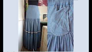 Как сверху укоротить юбку и переставить карманы в боковых швах