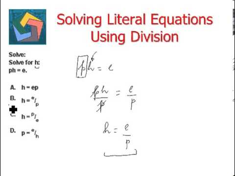 Solving Literal Equations Using Division Youtube