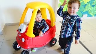 TODDLERS AND CAR Family fun funny video for kids LITTLE TIKES ON PLAYGROUND