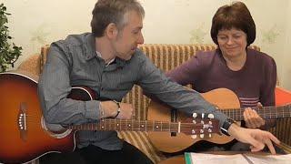 Урок музыки Учусь играть и моя  первая запись песни с учителем