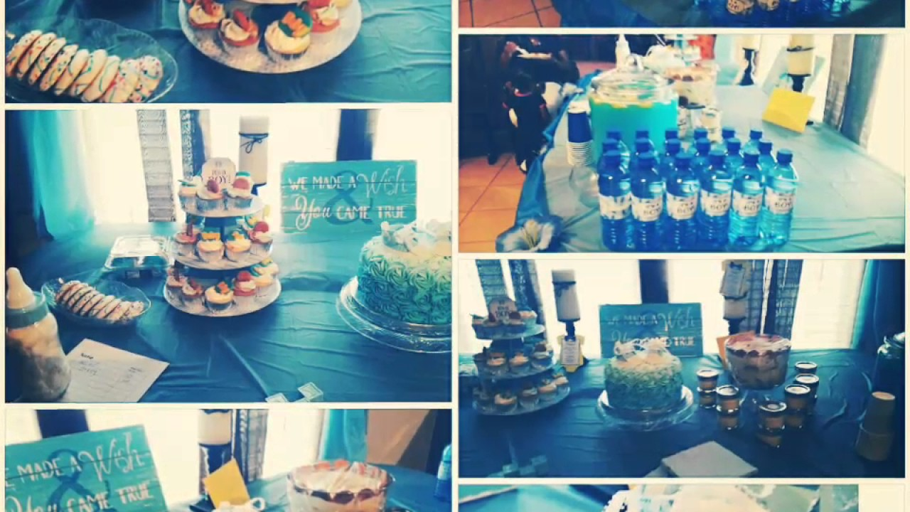 Baby shower IT'S A BOY decorated dessert table - YouTube
