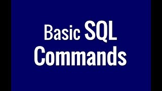 Basic SQL Commands in a Data Base - In 1 minute