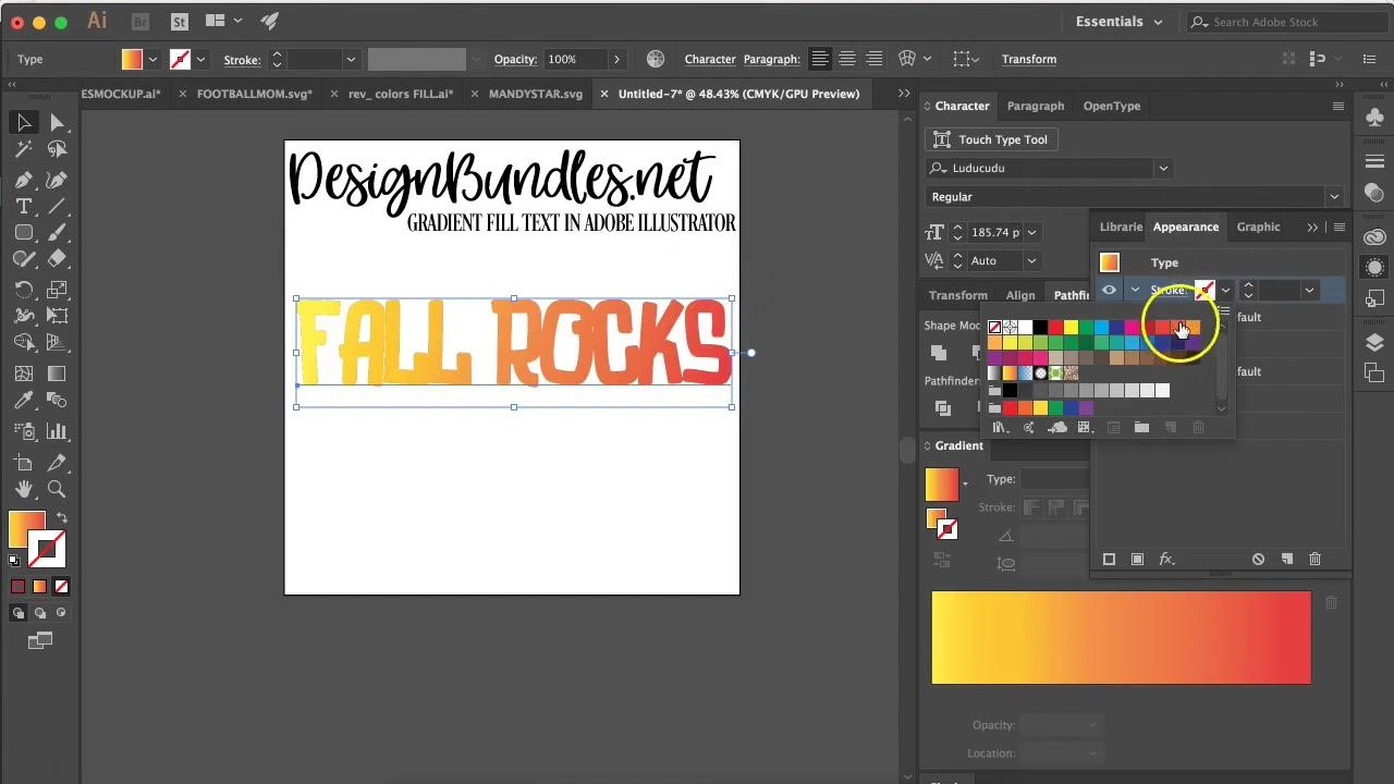 How To Gradient Fill Text In Adobe Illustrator Design Bundles