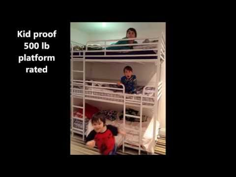 Triple tier adult camp or hostel bunk bed