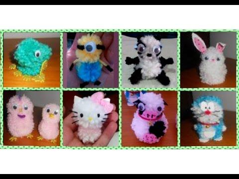 Hello kitty de lana doraemon hechos por mi youtube - Como hacer pompones con lana ...