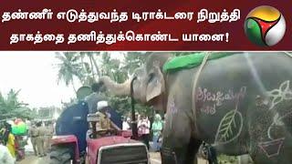 தண்ணீர் எடுத்துவந்த டிராக்டரை நிறுத்தி தாகத்தை தணித்துக்கொண்ட யானை!  | Elephant