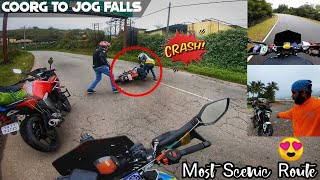He Fell Down From His Bike🙄 -Coorg To Jog Falls | Most Scenic Route|Drone Shots| Karnataka Ride Day3