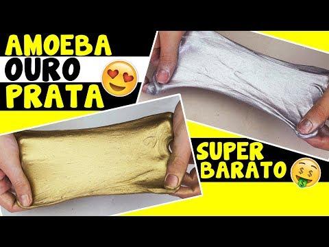 Como fazer AMOEBA OURO E PRATA (slime gold silver) | TIO LUCAS