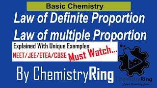 Law of definite Proportion Vs Law of Multiple Proportion class 9th,11th chemistry