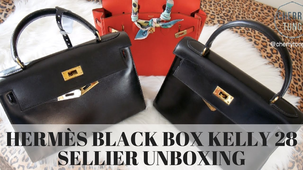 9aff5a12e7 HERMES BLACK BOX KELLY 28 SELLIER
