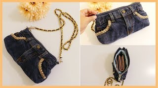 DIY Denim Crossbody Bag from Old Jeans