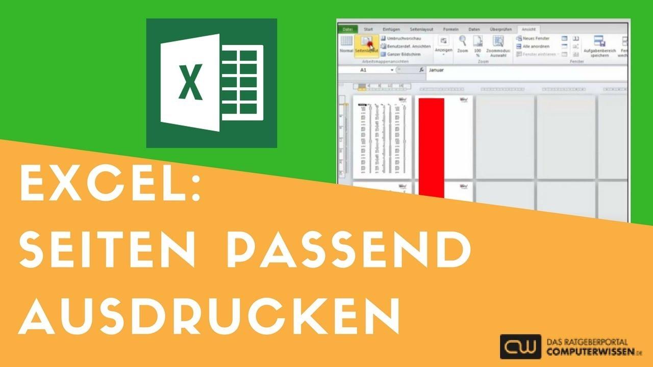 Excel Seiten Passend Ausdrucken Tutorial Youtube