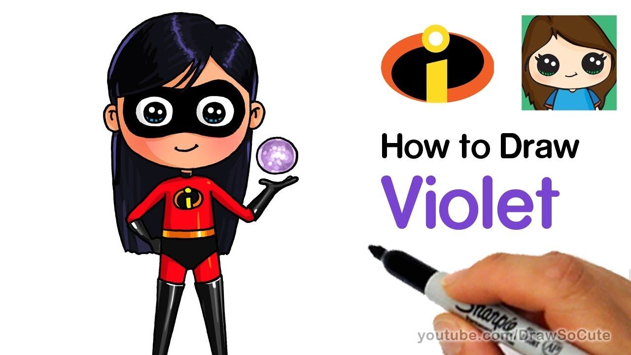 Nice How To Draw Violet Easy | The Incredibles. Draw So Cute
