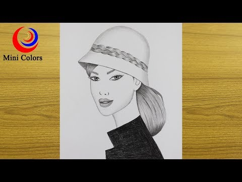 🚲how-to-draw-a-beautiful-girl-with-hat-step-by-step-🌸-pencil-sketch-drawing-!