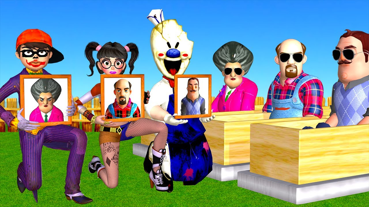 Scary Teacher 3D NickJoker vs Tani Harley Quinn Troll Miss T and Ice Scream 4 in Neighbor's Farm