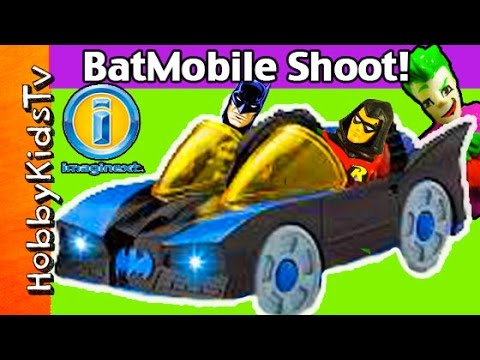 BatMobile Power SHOOTER! IMAGINEXT Awesome Lights Joker Review and Play HobbyKidsTV