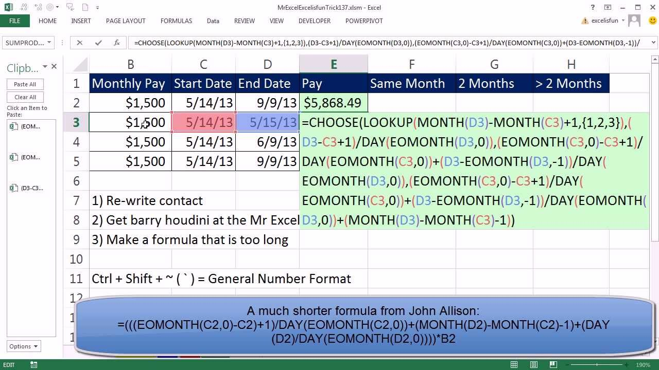 mr excel excelisfun trick start and end date what is total mr excel excelisfun trick 137 start and end date what is total pay over period given month salary