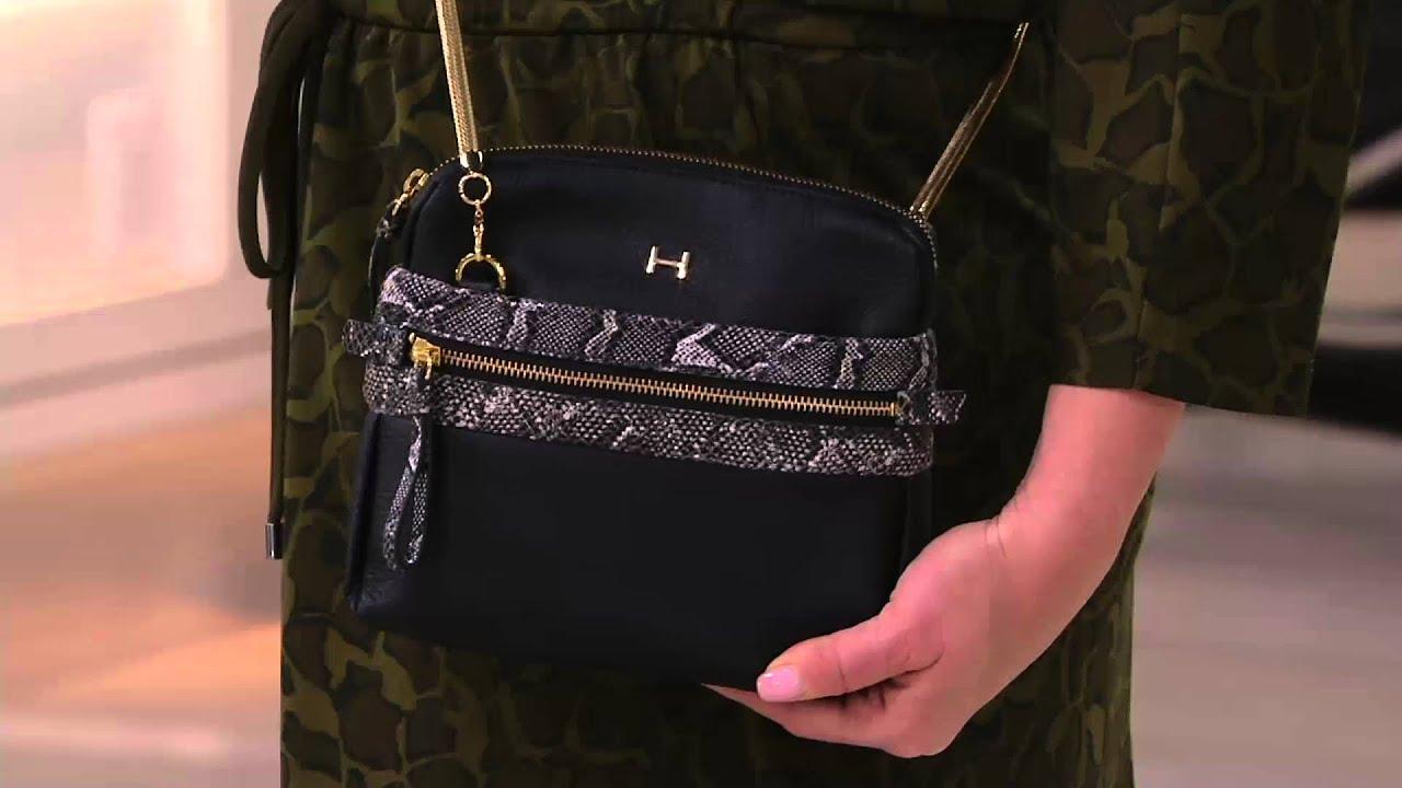 H by Halston Pebble Leather   Snake Print Crossbody Handbag on QVC ... 071b6ce52642b