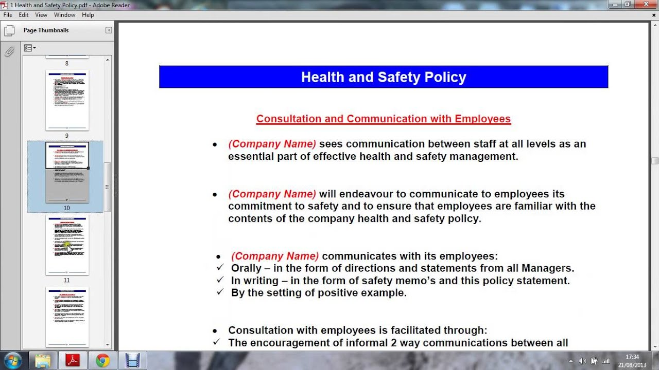 Know the health and safety policies