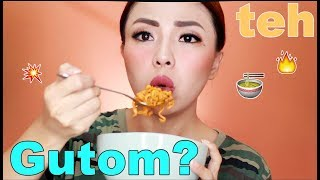 FULL Face Make Up While Eating SPICY NOODLES