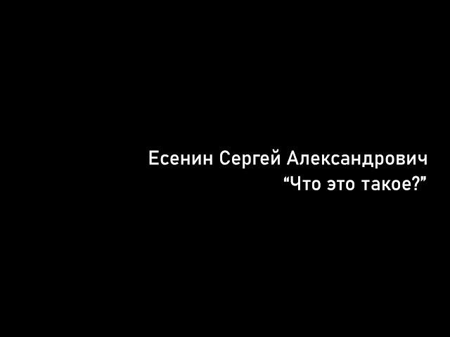 Изображение предпросмотра прочтения – ДанилБлагов читает произведение «Что это такое?» С.А.Есенина