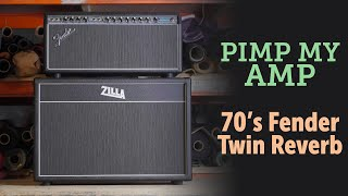 Fender Silverface Twin combo to head conversion by Zilla Cabs, before and after.