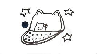 Glitter cap with ears Kitty cap Китти кепка Раскраска Уроки рисования