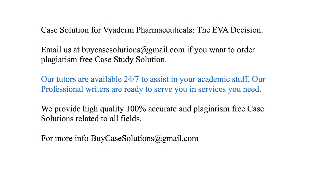 vyaderm pharmaceuticals case study solution