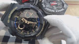 Black Casio G Shock Analog Digital Camouflage Watch GA100CF 1A9