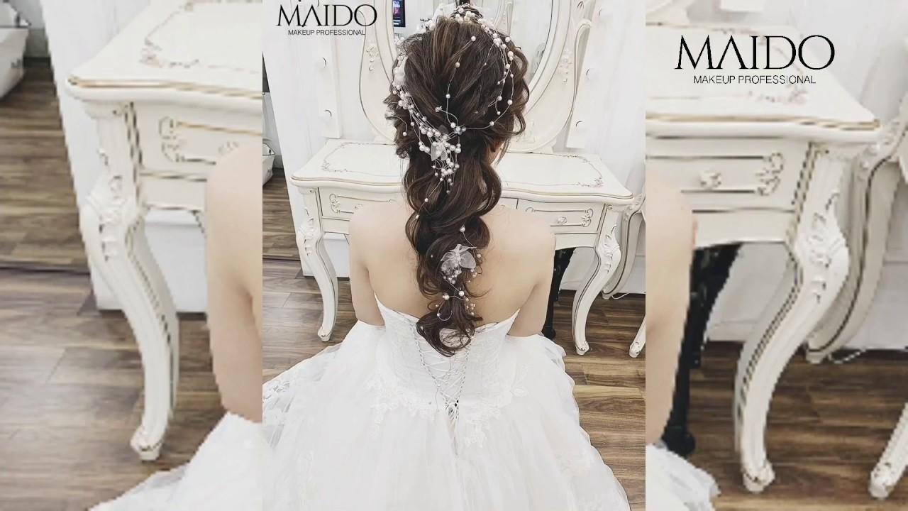 Hướng dẫn kiểu tóc cô dâu uốn xoăn buộc đuôi ngựa Hàn Quốc 2019 – Mai Đỗ Makeup
