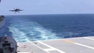first fixed wing aircraft recovered aboard uss gerald r ford