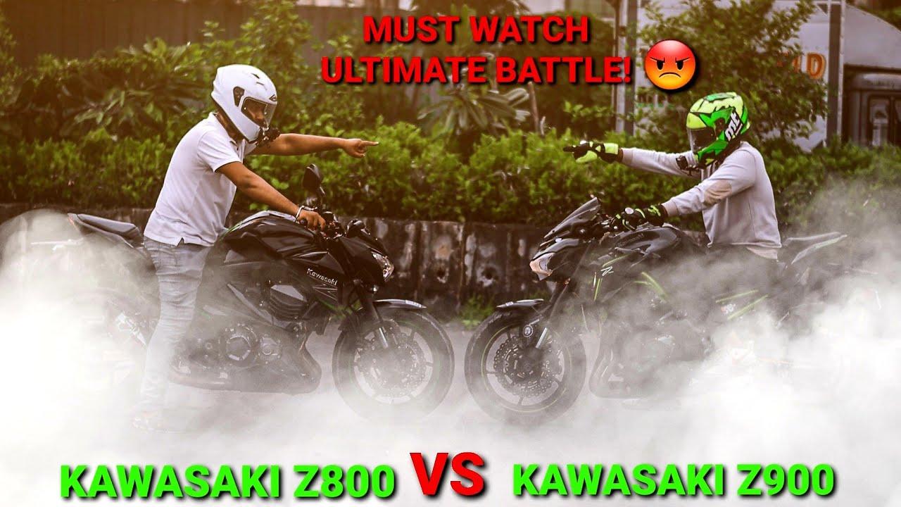 Kawasaki Z800 VS Z900|Drag Race|Reaction of Z800 Biker|Loudest Superbikes|Z900 Rider