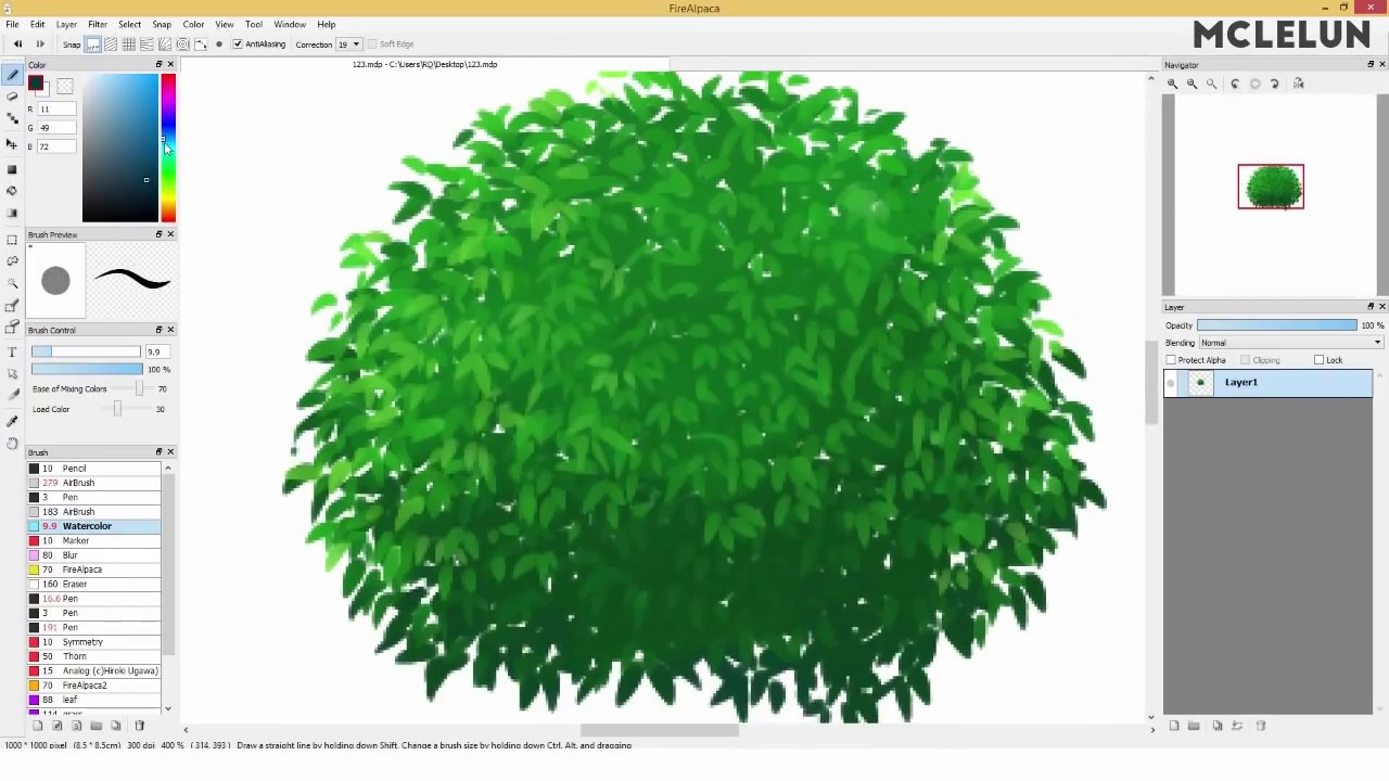 Tree painting using FireAlpaca watercolor brush