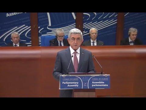 President of Armenia Serzh Sargsyan. Strasbourg 24-01-2018