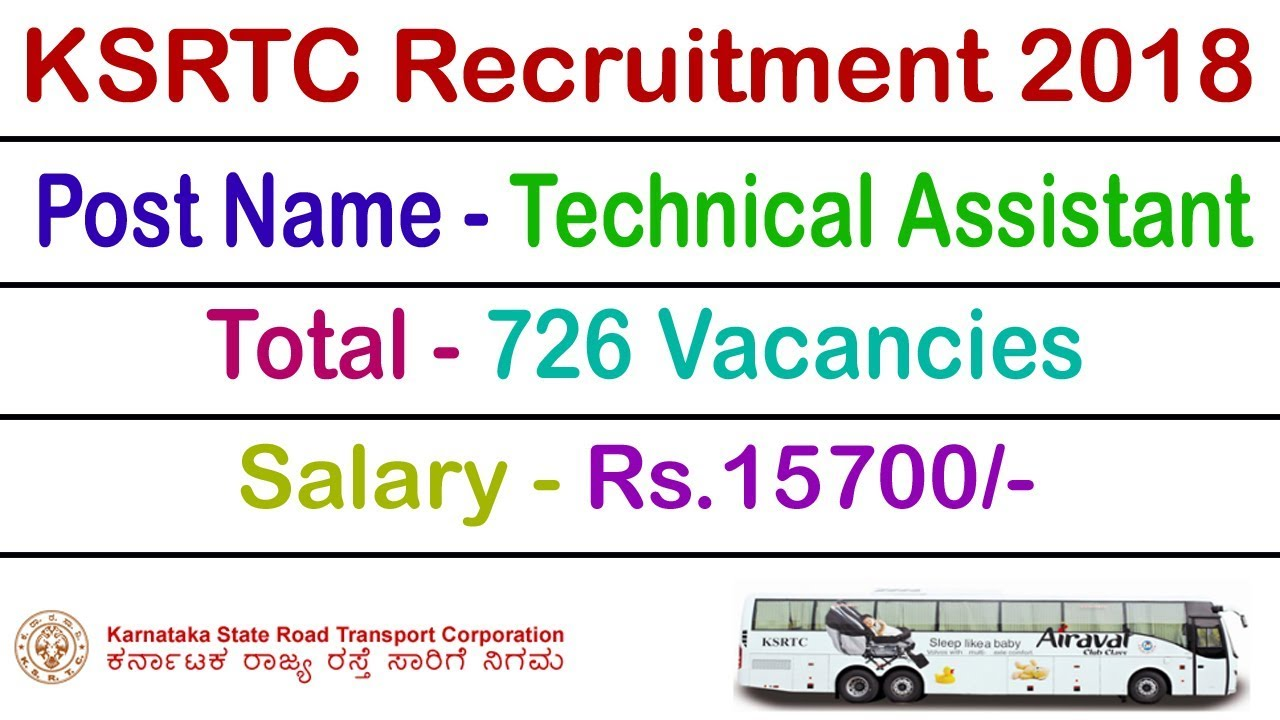 KSRTC Recruitment 2018 Technical Assistant 726 Bharti Exam www ksrtc in or  www ksrtcjobs com