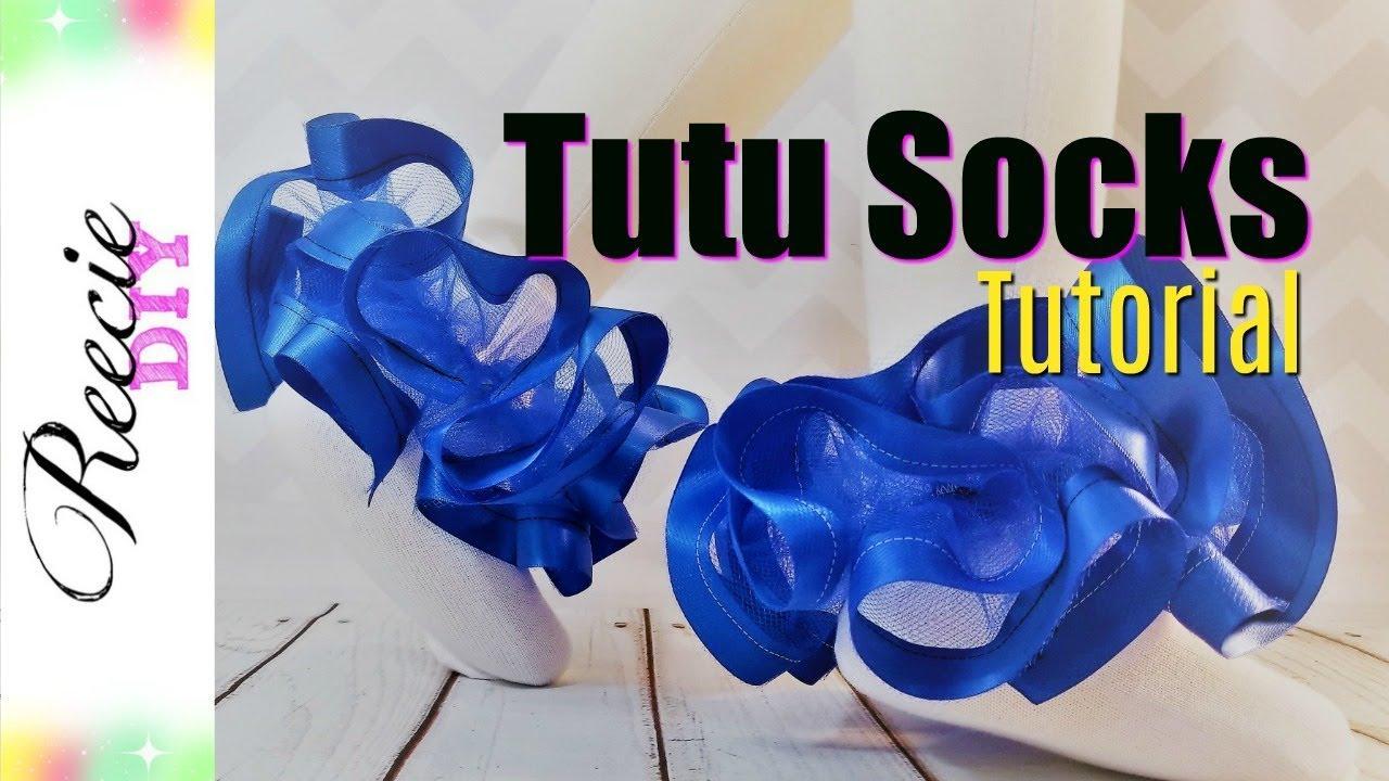 Multicolor ribbon trimmed tutu socks