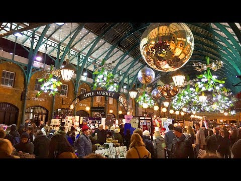 LONDON WALK | Covent Garden At Christmas Incl. Christmas Tree, Lights And Decorations | England