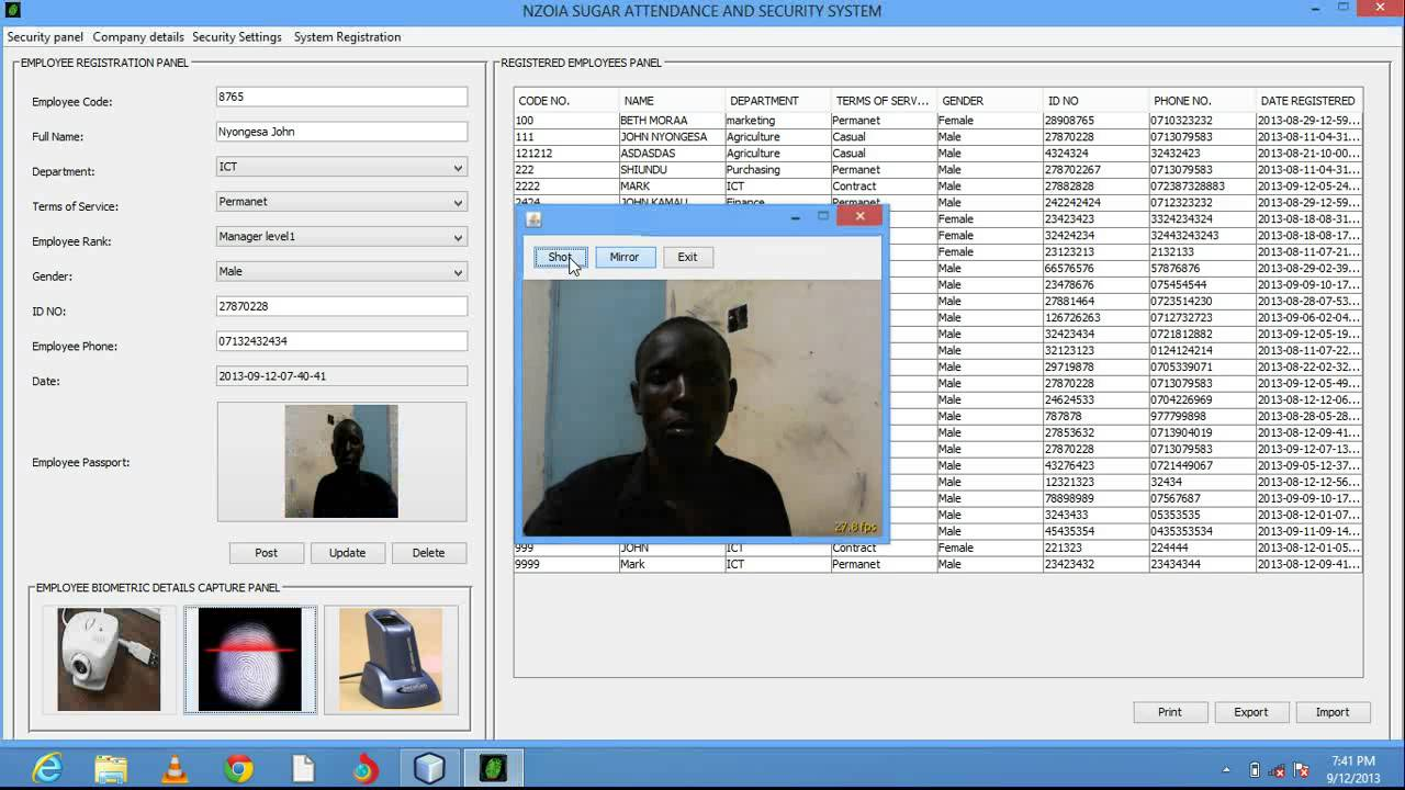 biometric attendance monitoring system working
