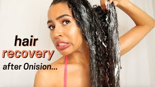 A HEALTHY CURLY HAIR ROUTINE - RECOVERING FROM ONISION's HAIR ADVICE