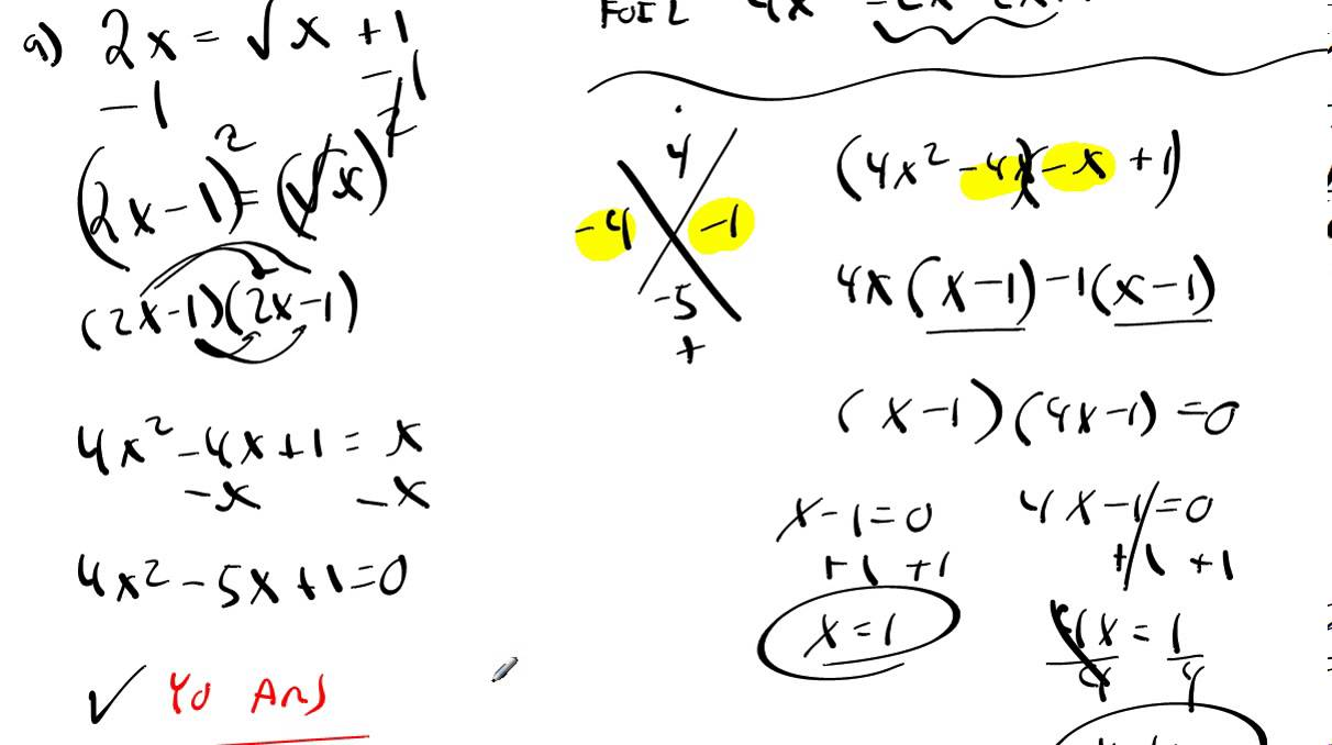 9.3 Example 4 Solving Radical Equations That Lead to