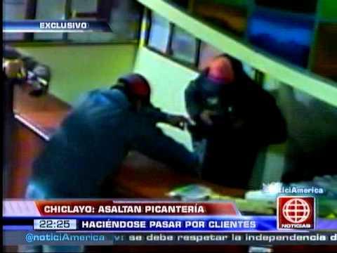 América Noticias - 080114 - Chiclayo: cámara de seguridad registró villento asalto en picantería