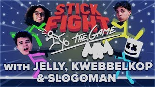 STICK FIGHT Battle Royale w/ Jelly, Kwebbelkop & Slogoman | Gaming With Marshmello