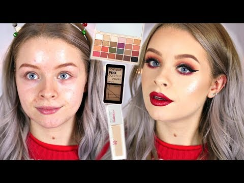 100% DRUGSTORE CHRISTMAS GLOW UP MAKEUP TUTORIAL