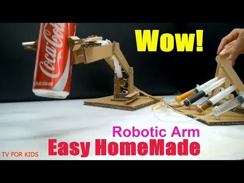 How to Make Hydraulic Powered Robotic Arm from Cardboard At home