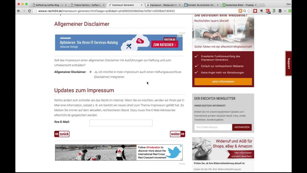 Wordpress Impressum anlegen mit dem kostenlosen Impressums Generator ...