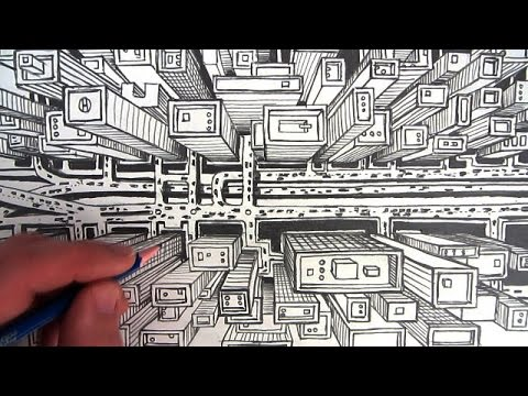 How to Draw a City using 1-Point Perspective: A Bird's Eye View