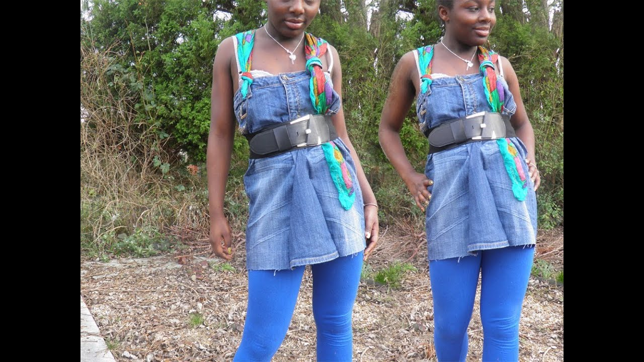 DIY fashion denim dress recycle old jeans ♡