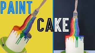 Artist Paint Cake | Gravity Defying Rainbow Cake with Paint Brush Illusion by Elise Strachan