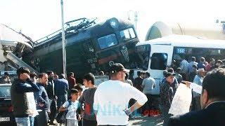 Bakı dəşətli qəza: Qatarla avtobus toqquşdu - 1 Oktyabr 2018