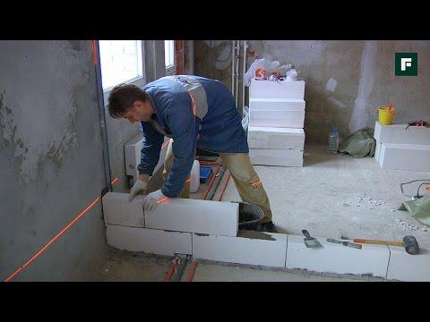 Как сделать стенку из пеноблоков в квартире
